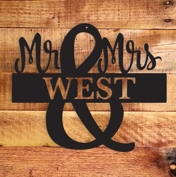 mr,mrs,monogram,steel,wall,art,sign,hanging,home decor