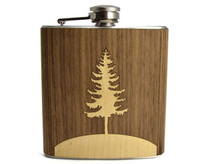 flask,hip,tree,handmade,made in USA,gift,autumn summer
