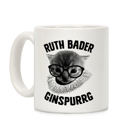 ruth,bader,ginspurrg,cat,ginsburg,coffee,mug,cup,ceramic,kitten