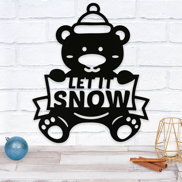 bear,let it snow,Christmas,steel,wall,art,home decor,sign,hanging