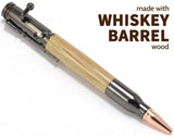 whiskey,barrel,wood,pens,bolt,action,bullet,tipped,customized,personalized