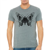 shirt,tee,men's,butterfly,skull,bella,gift