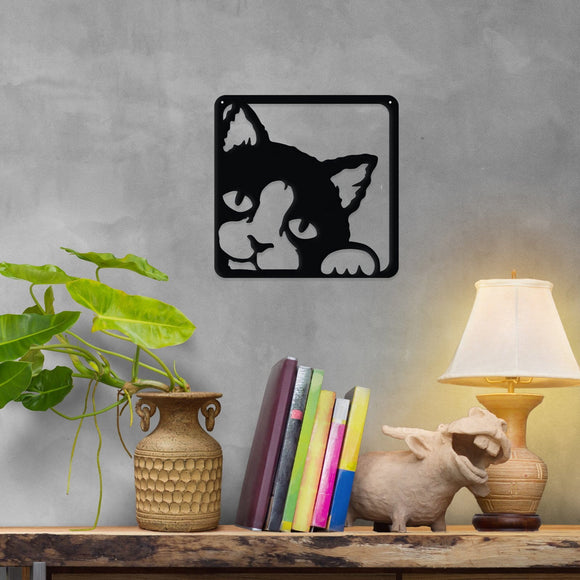 cat,steel,wall,art,hanging,sign,home decor,peeking