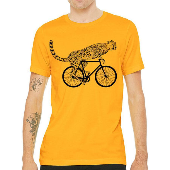 cheetah,on,bike,bicycle,tee,shirt,t-shirt,men's