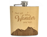 personalized,customized,handcrafted,hip,flask,wood,handmade,woodwork,not,all,wander,are,lost,who