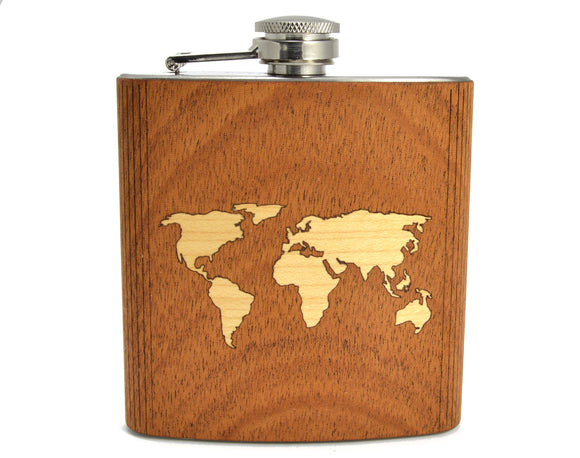 personalized,customized,monogram,world,map,travel,hip,flask,wood,woodwork,handmade,handcrafted
