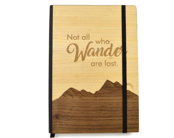 not.all,wander,are,lost,wood,notebook,journal,handmade,handcrafted,woodwork