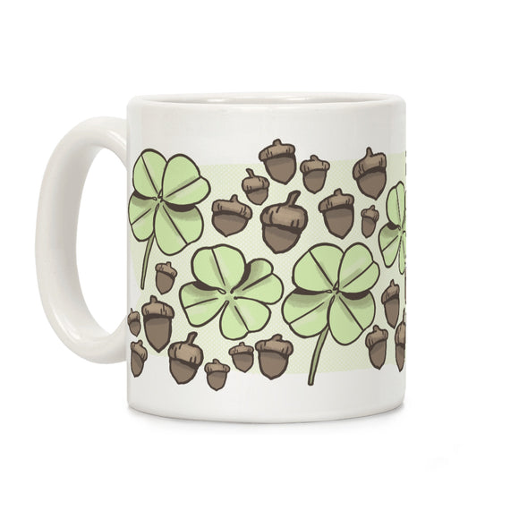 four,leaf,clover,acorn,coffee,mug,cup,ceramic,irish,st,patrick's,day