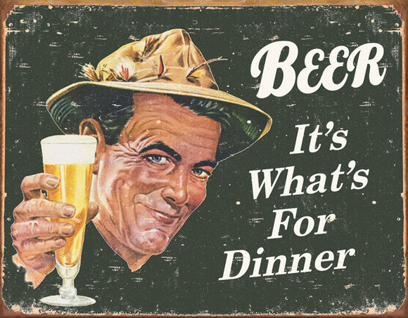 8 x 10  Inch Diameter Tin Sign All Aluminum  Beer for dinner