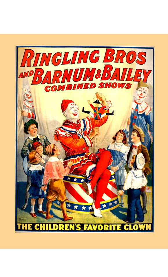 8 x 10  Inch Diameter Tin Sign Ringling Brothers Circus