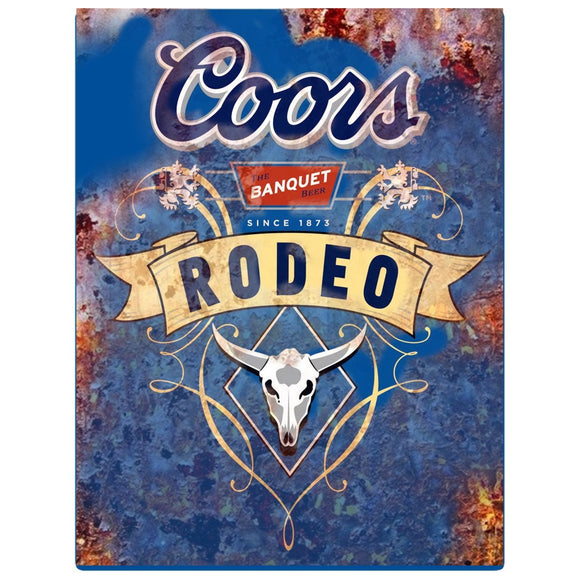 8 x 10  Inch Diameter  Tin Sign Coors beer rodeo