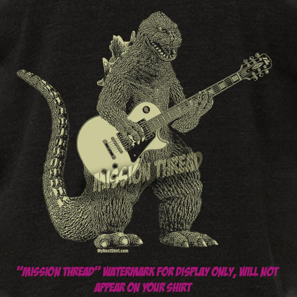 godzilla,dinosaur,playing,guitar,tee,shirt,tshirt,t-shirt,mens,mission,thread
