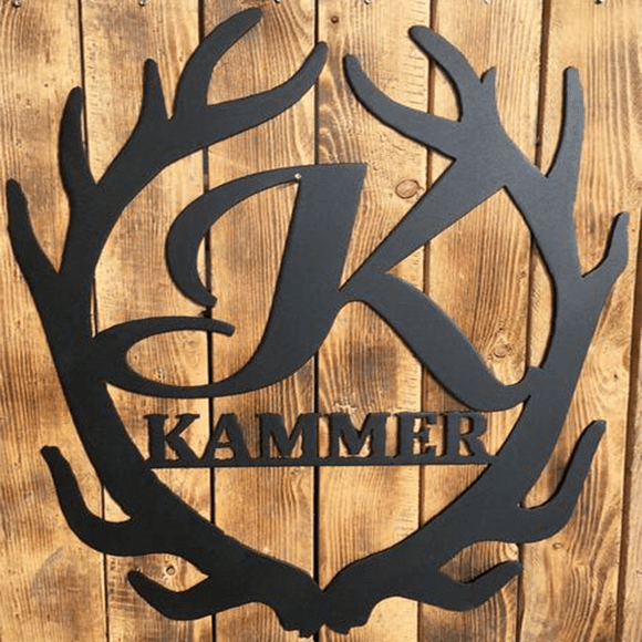 customized,personalized,deer,antler,steel,wall,art,home decor,hanging,sign