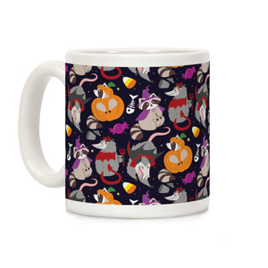 trashy,animals,Halloween,coffee,mug,cup,raccoon,opossum