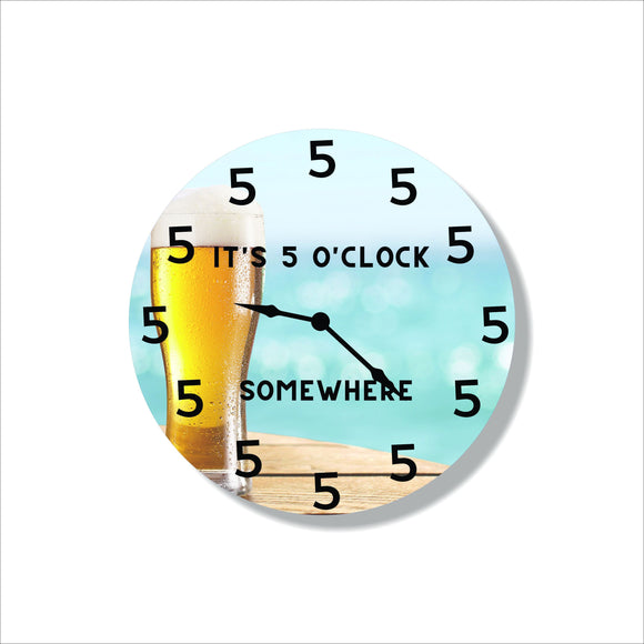 beer,clock,steel,wall,art,hanging,home decor,5 o'clock,somewhere,handmade,