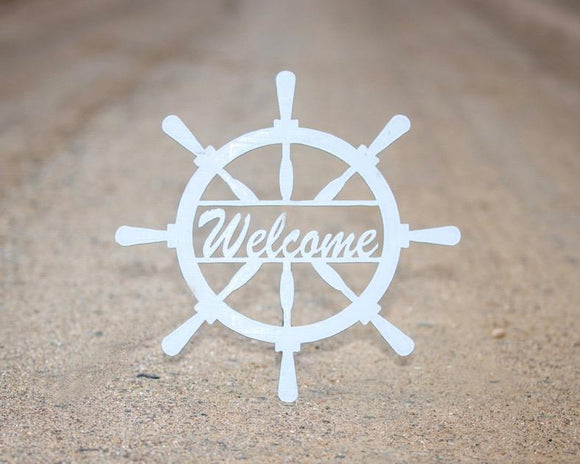 sign,gift,steel,captain wheel,welcome,handmade,