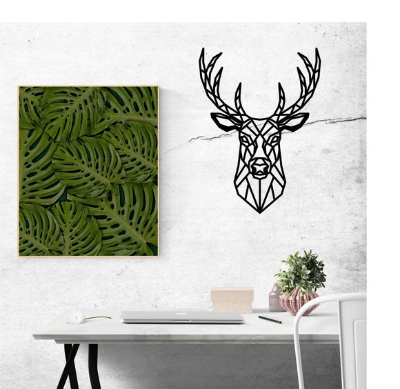 geometric,deer,steel,wall,art,home,decor,sign,hanging