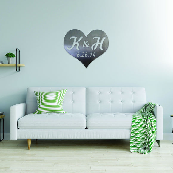 customized,personalized,heart,initials,date,steel,wall,art,home decor