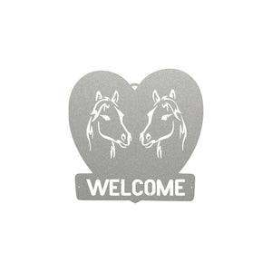 horse,welcome,steel,handmade,banner,sign,gift,metalwork,made in USA