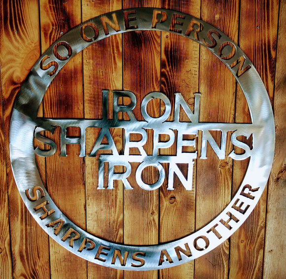 gift,steel,sign,iron sharpens iron,metalwork,handmade