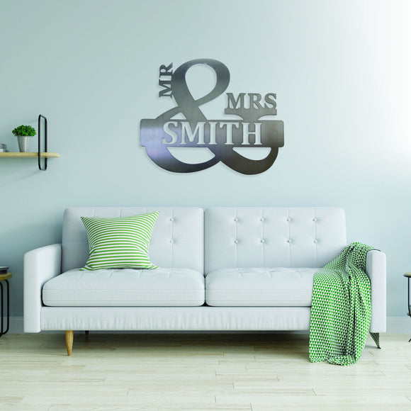 customized,personalized,mr,mrs,sign,steel,wall,art,home decor