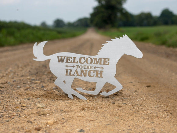 horse,mustang,ranch,welcome,sign,wall art,wall hanging,handmade,steel,metalwork