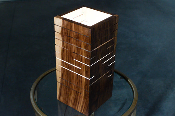 black,walnut,maple,slotted,lamp.light,handmade,wood,iron,roots,design