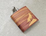 Personalized Wolf Wood Hip Flask