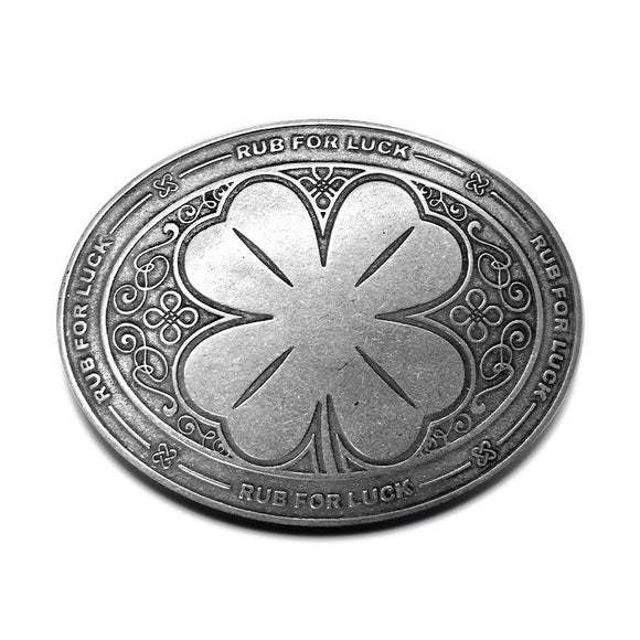 rub,luck,shamrock,clover,st,patricks,day,belt,buckle,bevbuckle
