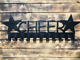 cheer,cheerleader,medal,display,hanger,steel,handmade,made in USA,metalwork