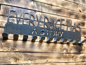 every race has a story,medal,display,steel,hanger,home decor