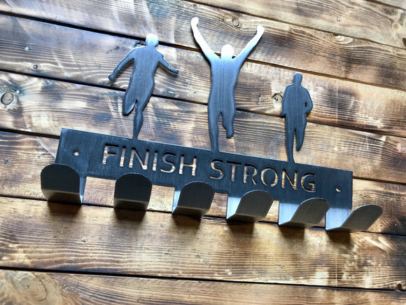 finish strong,medal,display,hanger,home decor,steel,wall