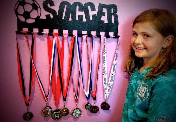 soccer,medal,display,hanger,steel,wall,art,home decor