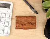 mountain,business,card,holder,wood,handmade,autumn,summer