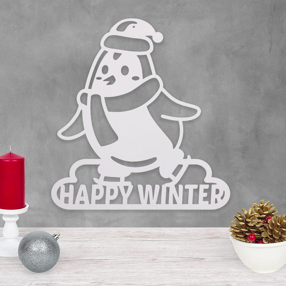 happy winter,penguin,steel,sign,wall,art,home decor,hanging,Christmas