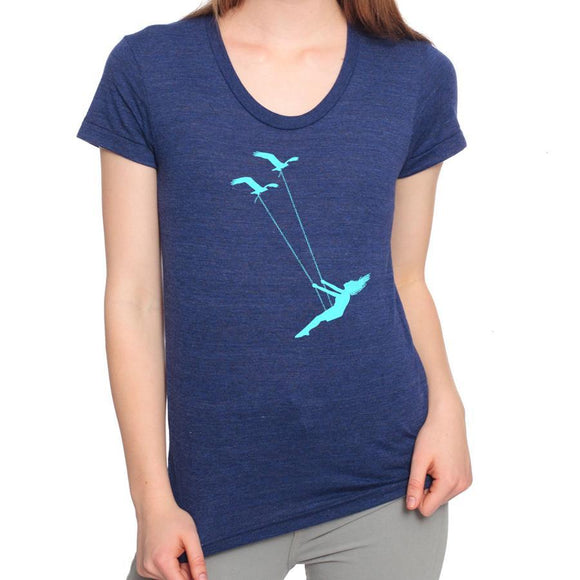 flying,bird,swing,tee,shirt,t-shirt,adult,women,blue,green