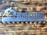 wrestling,medal,display,hanger,steel,handmade,metalwork,made in USA