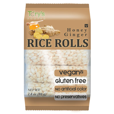 CRUNCHY RICE ROLL SNACK WITH HONEY & GINGER