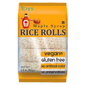 CRUNCHY RICE ROLL SNACK WITH MAPLE SYRUP