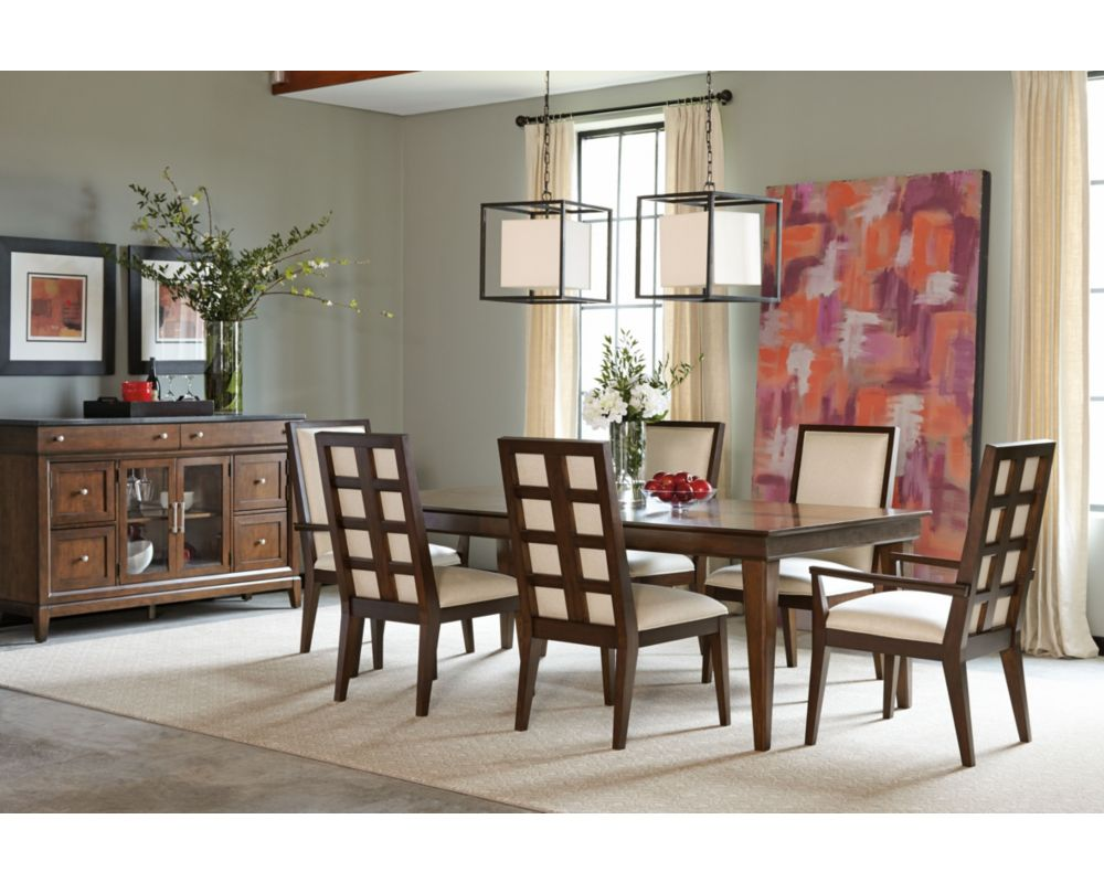 THOMASVILLE FURNITURE STUDIO 1904 CHERRY LEG DINING TABLE AND 6 CHAIR SET