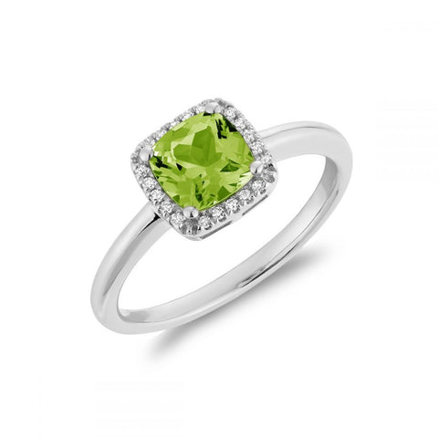 Cushion Cut Precious Stone & Diamond Halo Ring