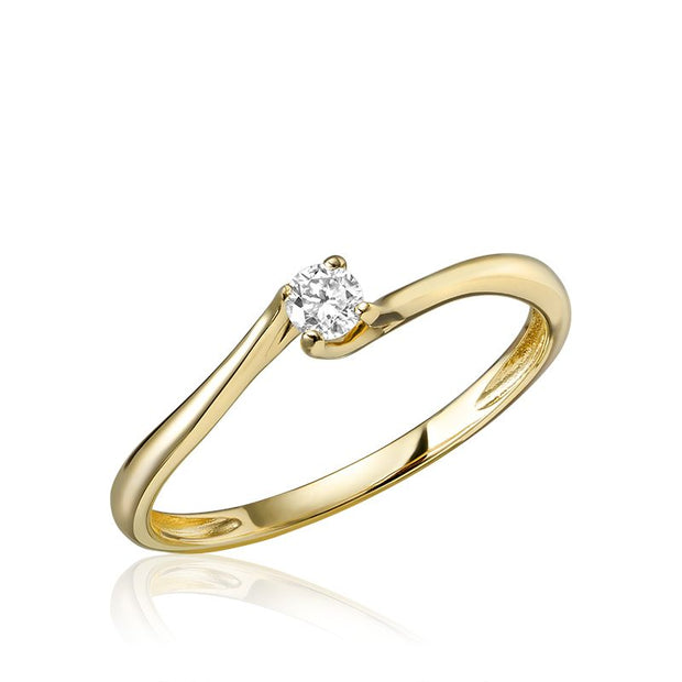Diamond Bypass Solitaire Promise Ring