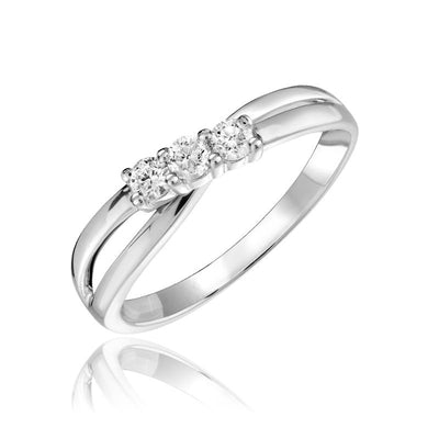 Diamond 3 stone crossover Promise Ring