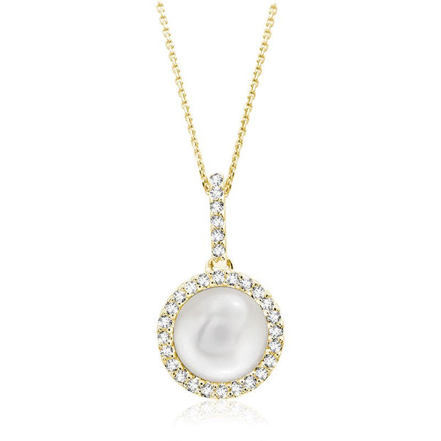 Round Cultured Freshwater Pearl & Diamond Halo Pendant