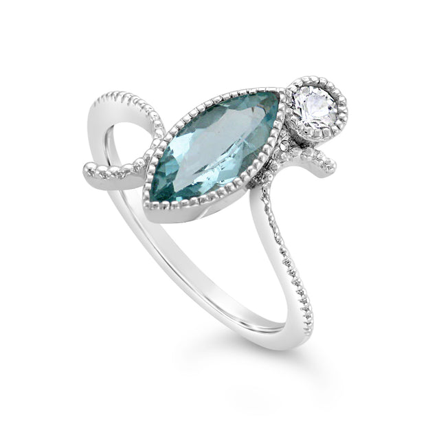 Ladies Custom 14k White Gold Aquamarine Ring