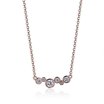 ELLE Sterling Silver Rose Gold Plated CZ Pendant