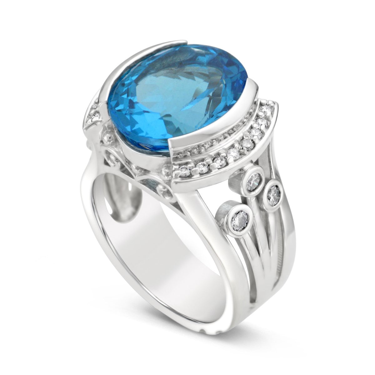 Ladies Estate Yellow Gold Blue Topaz & Mystic Topaz Ring