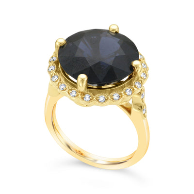 Cobalt Spinel Cocktail Ring