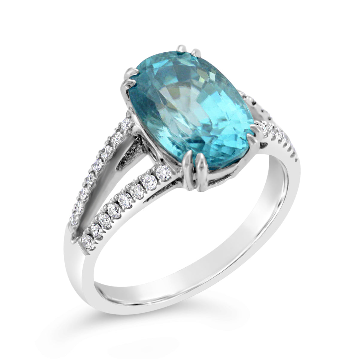 Ladies Custom 14k White Gold Blue Zircon Ring