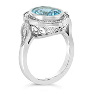 Ladies Custom 14k White Gold Blue Topaz Ring